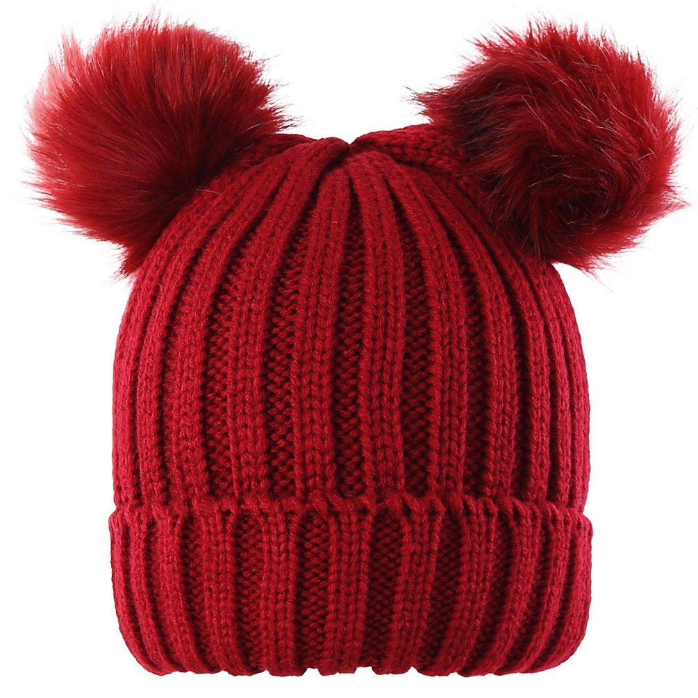 Novawo Two Pom Pom Hat Lovely Beanie Winter Warm Knit Hats Slouchy Beanie  For Women at Amazon Women s Clothing store  c9324c425ab