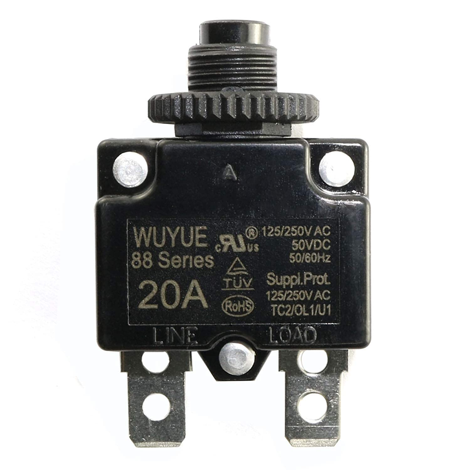 250VAC 15A Switch Push Reset Button Circuit Breaker Overload Protector