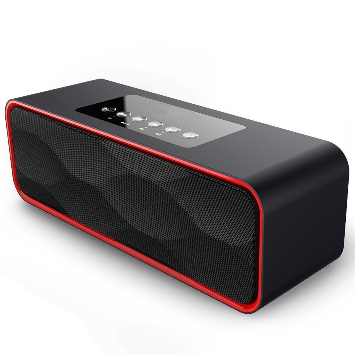 Wireless Portable Bluetooth Speaker 4.0 Build-in Mic, with 10W HD Audio, Enhanced Bass, Radio Support, Hands-free Call and TF Card Slot, Stereo Sound for iPhone, Tablet, Android (DY22 Black)