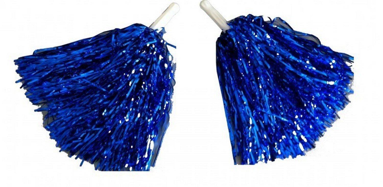 1 Paar Cheerleader Pom Poms Tanzwedel Puschel Tanzpuschel Wedel Pompoms in BLAU NEU Wibel