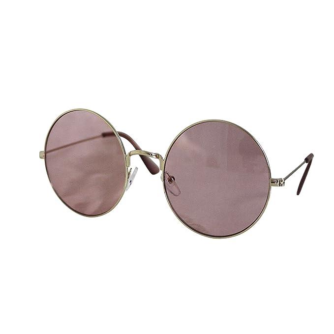 FERETI Gafas De Sol Redondas Mujer Rosa Dorada Lenon Espejo ...