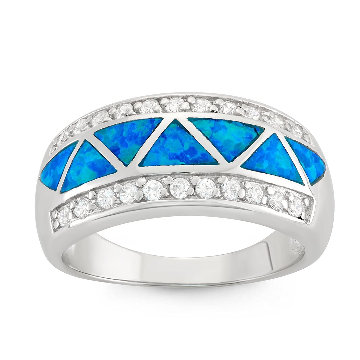Sterling Silver CZ and Created Blue Opal Designed Band Ring