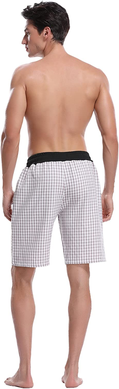 Hawiton Herren Schlafanzughose Pyjamahose Kurz Baumwolle Kariert Shorty Nachtw/äsche Sleep Hose Pants
