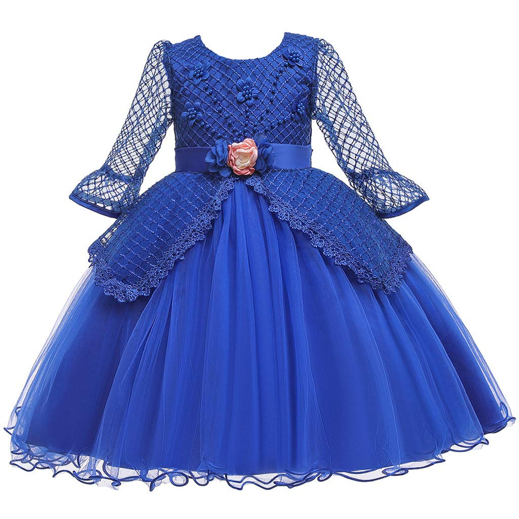 Kids Girls Vintage Dress Lace Long Sleeves Wedding Party Evening Formal Elegant Princess Tulle Dance Gown (Age:4-5 Years, Blue) by FDSD Baby Clothes