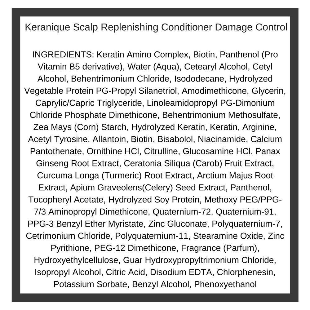 Keranique Scalp Replenishing Shampoo and Replenishing Keratin Conditioner Set – Damage Control for Damaged Hair