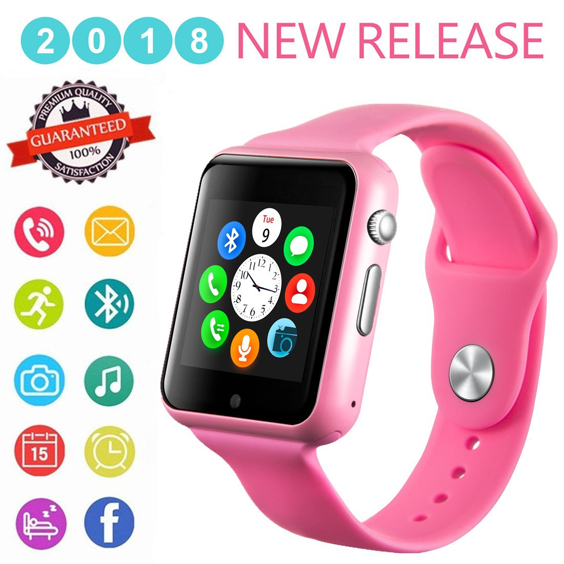 Smartwatch, Bluetooth Smart Watch Phone Wristwatch with Pedometer Camera SMS SNS Sync Music Player SIM Card Slot for Android iPhone (Partial Functions) Women Girls (Pink)