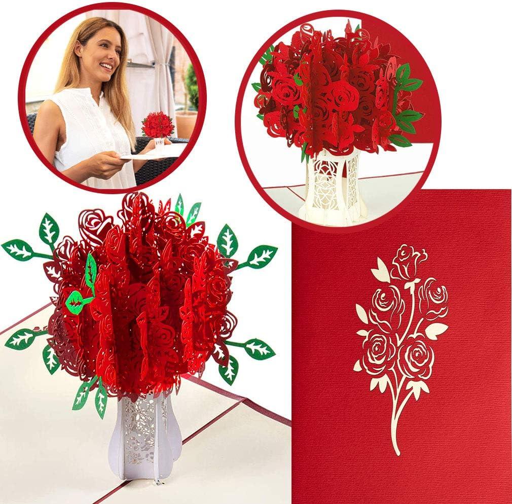 Nozze Anniversari Biglietto Rosso Bouquet di rose Biglietto di auguri pop-up 3D Biglietto dAuguri 3D Pop-up Carta Matrimonio Carta Inviti per per il compleanno o lanniversario dellamante