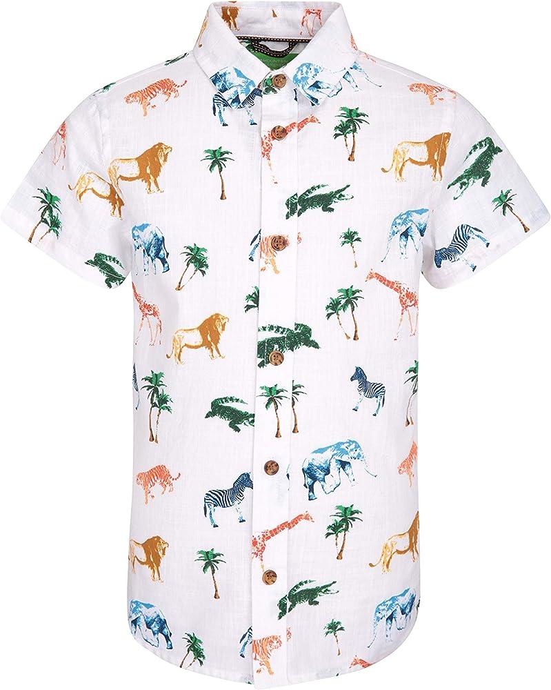 Mountain Warehouse Camisa Safari para niños - 100% de algodón, con protección UV, Ligera, Transpirable y Estampada - Unisex, Ideal para Viajes y acampadas Blanco 2-3 Años: Amazon.es: Ropa y accesorios
