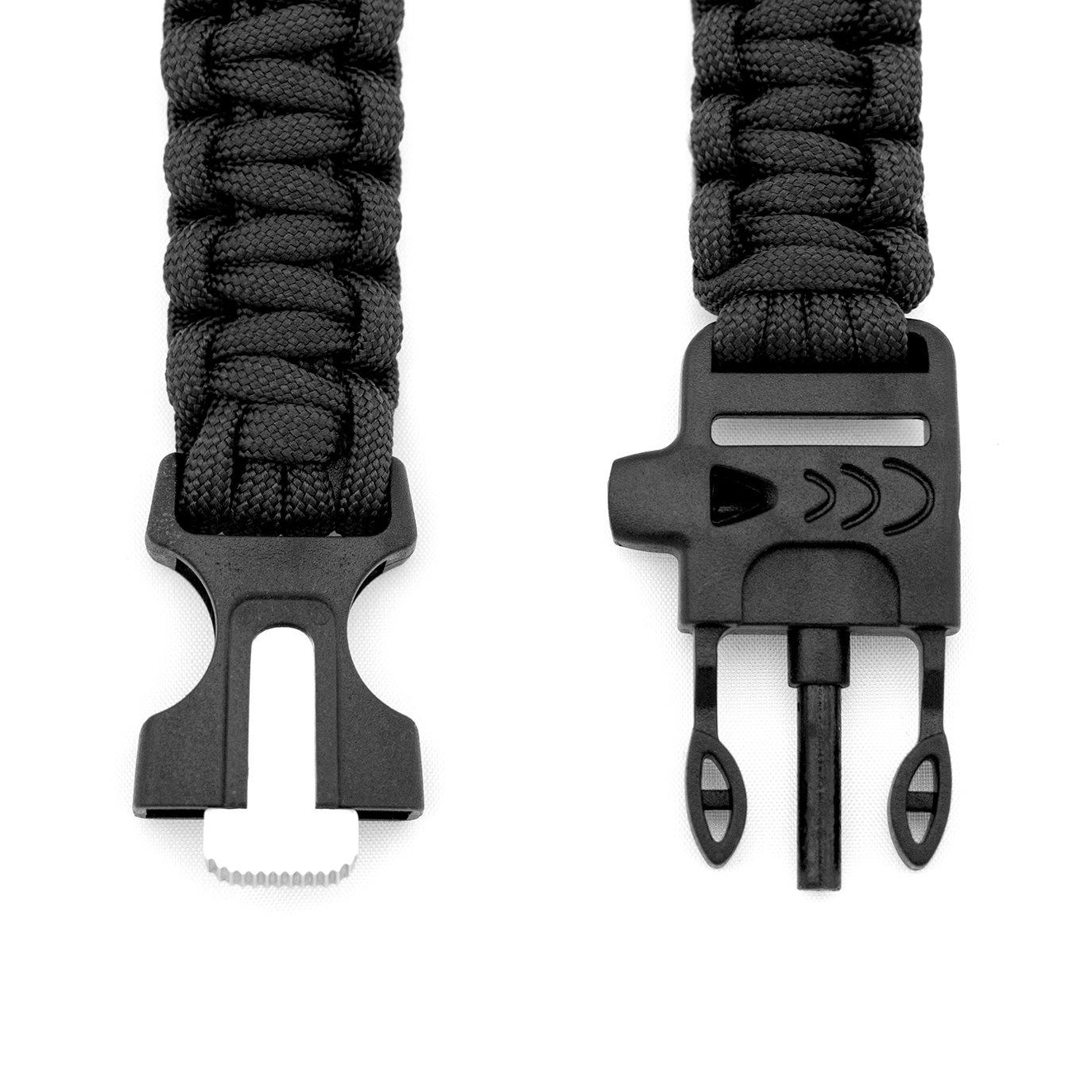Paracords Notfallausrüstung Paracord Armband Survival-Seil geflochten aus reißfestem Parachute Cord schwarz