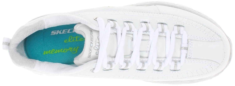 Skechers Damen SynergyTrend Setter Sneakers im sportlich, klassischem Design mit integriertem Absatz und gepolsterte Memory Foam Einlegesohle White/Silver
