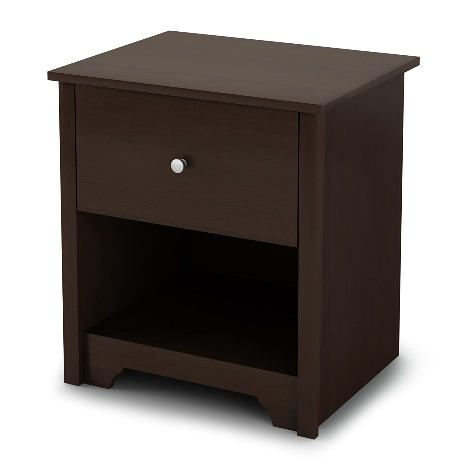 South Shore Vito 1-Drawer Nightstand-Chocolate