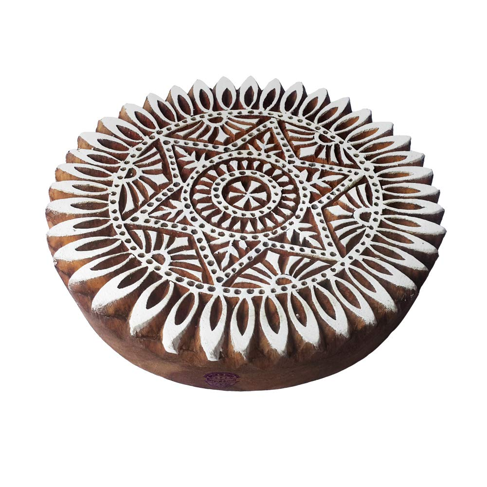 8 Inch Urban Large Print Block Round Star Pattern Big Wooden Stamp