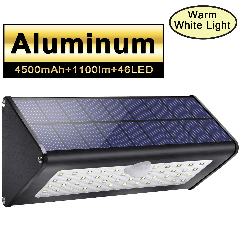 1100lm 4500mAh 46 LED Aluminiumlegierung Solar Schwarz Außenbeleuchtung 120° Infrarot Bewegungssensor, wasserdicht IP65 Wireless Sicherheitslicht mit 4 intelligenten Modi für Garten -warm weißes Licht Licwshi