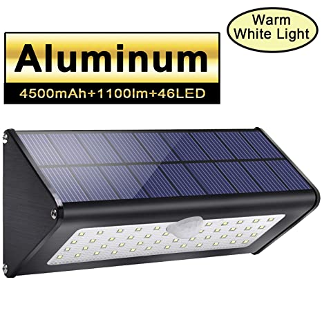 1100lm luces exteriores solares 4500mAh aluminio 120 ° sensor de movimiento infrarrojo impermeable IP65 luz de