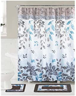 Bath Mat Set Contour Rug With Fabric Shower Curtain And Covered Rings