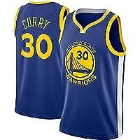 ZOZ Hombre Jersey de Baloncesto Masculino Warriors de Stephen Curry Jersey # 30 Sin Mangas Malla Jersey (Azul, L-)