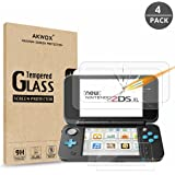 AKWOX (4-Pack) Nintendo 2DS XL Screen Protector, Tempered Glass Top LCD Screen Protector + HD Clear Crystal Buttom LCD…