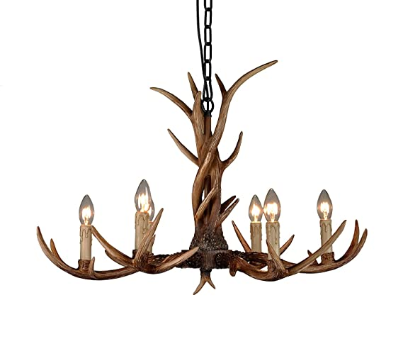 Effortinc vintage chandelier deer horn resin 6 lightsrural effortinc vintage chandelier deer horn resin 6 lightsrural countryside antler chandeliers study room mozeypictures Image collections