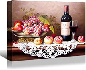 Looife Kitchen Wine Canvas Wall Art, 32x24 Inch Gallery Wrapped Oil Painting Wine with Fruits Picture Prints Wall Decor, Food Art Deco for Dining Room and Bar Wall Decoration