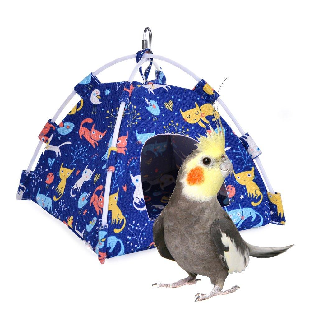 KINTOR Bird Nest House Bed, Parrot Habitat Cave Hanging Tent, Vibrant Parakeet Snuggle Hut Hammock, Intelligence & Physique Improvement Cage Decor for Small Animals (M-Cat)
