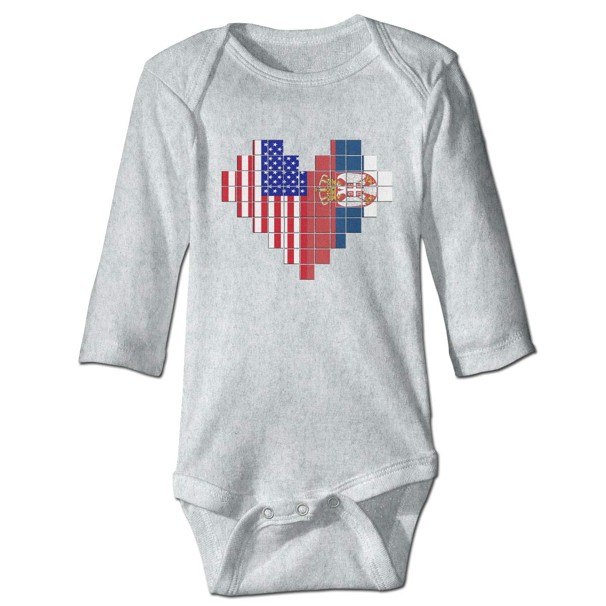 A14UBP Newborn Baby Boys Girls Long Sleeve Climb Romper American Flag Serbia Flag Puzzle Heart Playsuit Outfit Clothes
