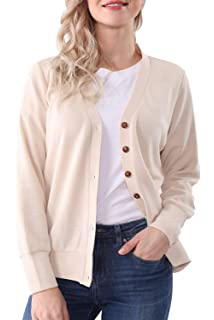 ce6b49a3f1 MYIFU Women s Classic Long Sleeve V-Neck Button Down Cardigan Sweater Coat