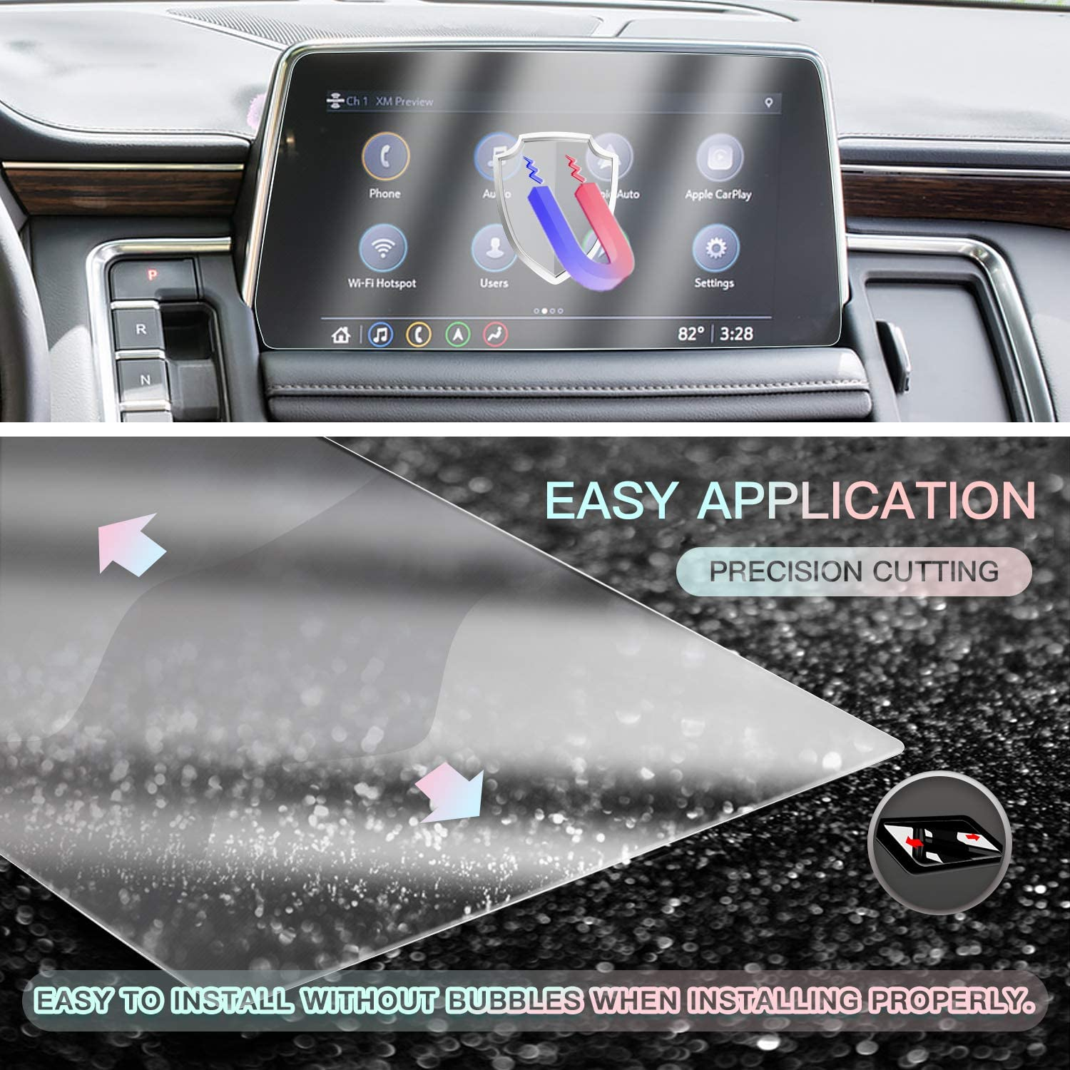 Plastic Screen Protector for 2021 Tahoe 10.2 Inch Touch Screen 2PCS PET Plastic Crystal Clear Protective Film Center Navigation Display Protective Film CDEFG