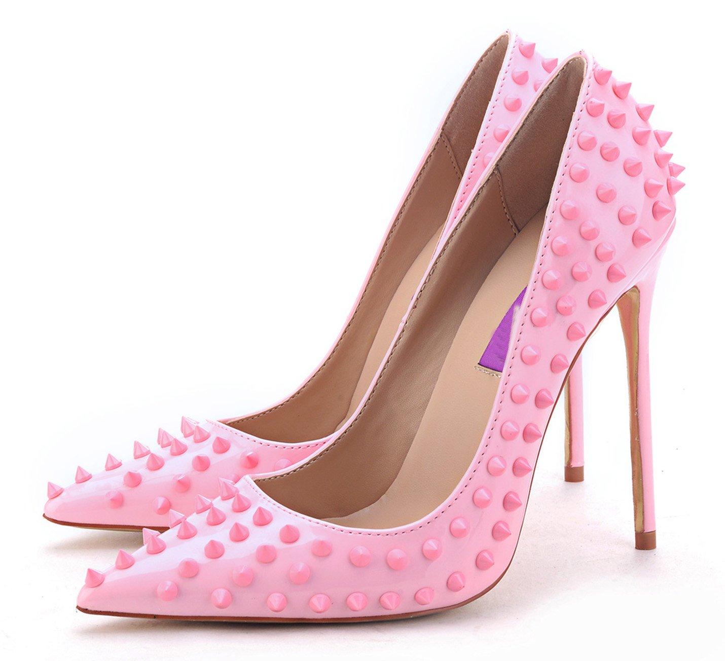 Jiu du Women's High Heel Fashion for Wedding Party Pumps Fashion Heel Rivet Studded Stiletto Pointed Toe Dress Shoes B07917B2XF US8/CN40/Foot long 25cm|Pink Pu 0cd970