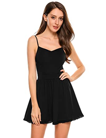 f56aa6d8ad Meaneor Women Sexy Spaghetti Strap Backless Solid A-Line Short Mini Cami  Dress  Amazon.co.uk  Clothing
