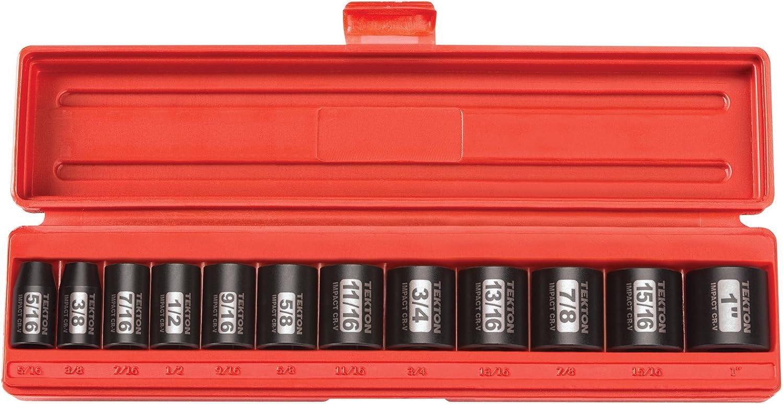 TEKTON 3/8-Inch Drive Shallow Impact Socket Set, Inch, Cr-V, 6-Point, 5/16-Inch - 1-Inch, 12-Sockets | 47910