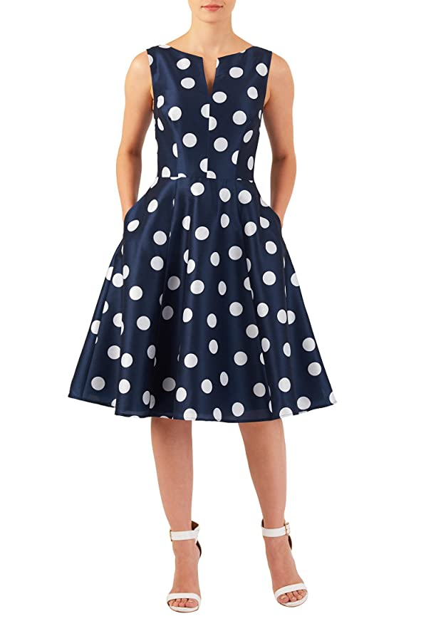 Plus Size Retro Dresses eShakti Womens Polka dot print dupioni dress $62.95 AT vintagedancer.com