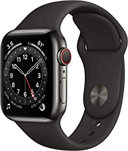 New AppleWatch Series 6 (GPS + Cellular, 40mm) - Graphite Stainless Steel Case with Black Sport Band
