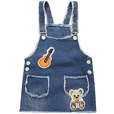 a081925a4 JiAmy Girls Dungaree Dress Denim Overalls Strap Suspender Skirt Bear 4-5  Years: Amazon.co.uk: Clothing