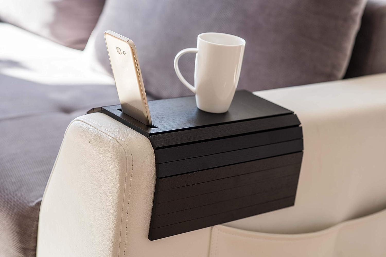 Vassoio di legno Divano braccio protezioni braccioli da tavolo divano tavolo sottobicchiere divano vassoio supporto per telefono Infradito colorati estivi con finte perline