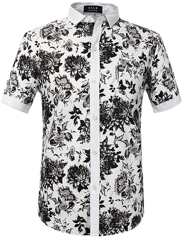 SSLR Mens Cotton Button Down Short Sleeve Hawaiian Shirt