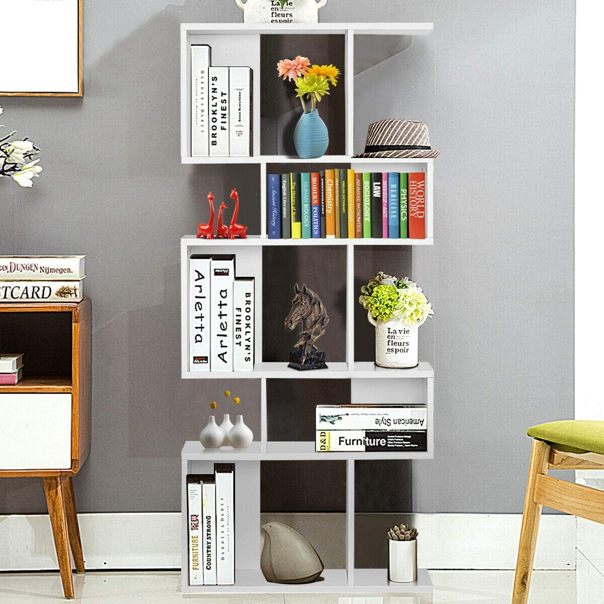 Giantex Freestanding Ladder Bookcase, 5 Cubes Corner Storage Bookshelf, 5-Layer Shelves Closet Organizer Rack Display Cabinet White