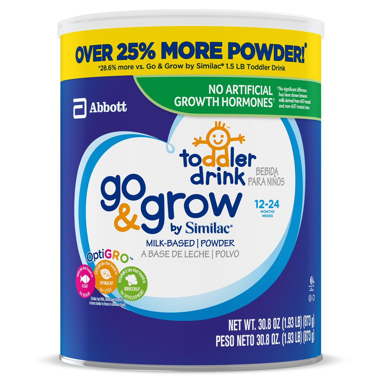 Go & Grow by Similac Milk Based Toddler Drink, (Pack Of 3) 36oz cans + 2 On-The-Go Stickpacks ABBN7 - pallet ordering 070074668383