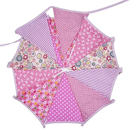 Banderines de Tela de Doble Cara con Diseño Floral Clásico, Rosa