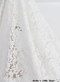 Pretty Cream Ivory Floral Crochet Non Stretch Quality Cotton Lace
