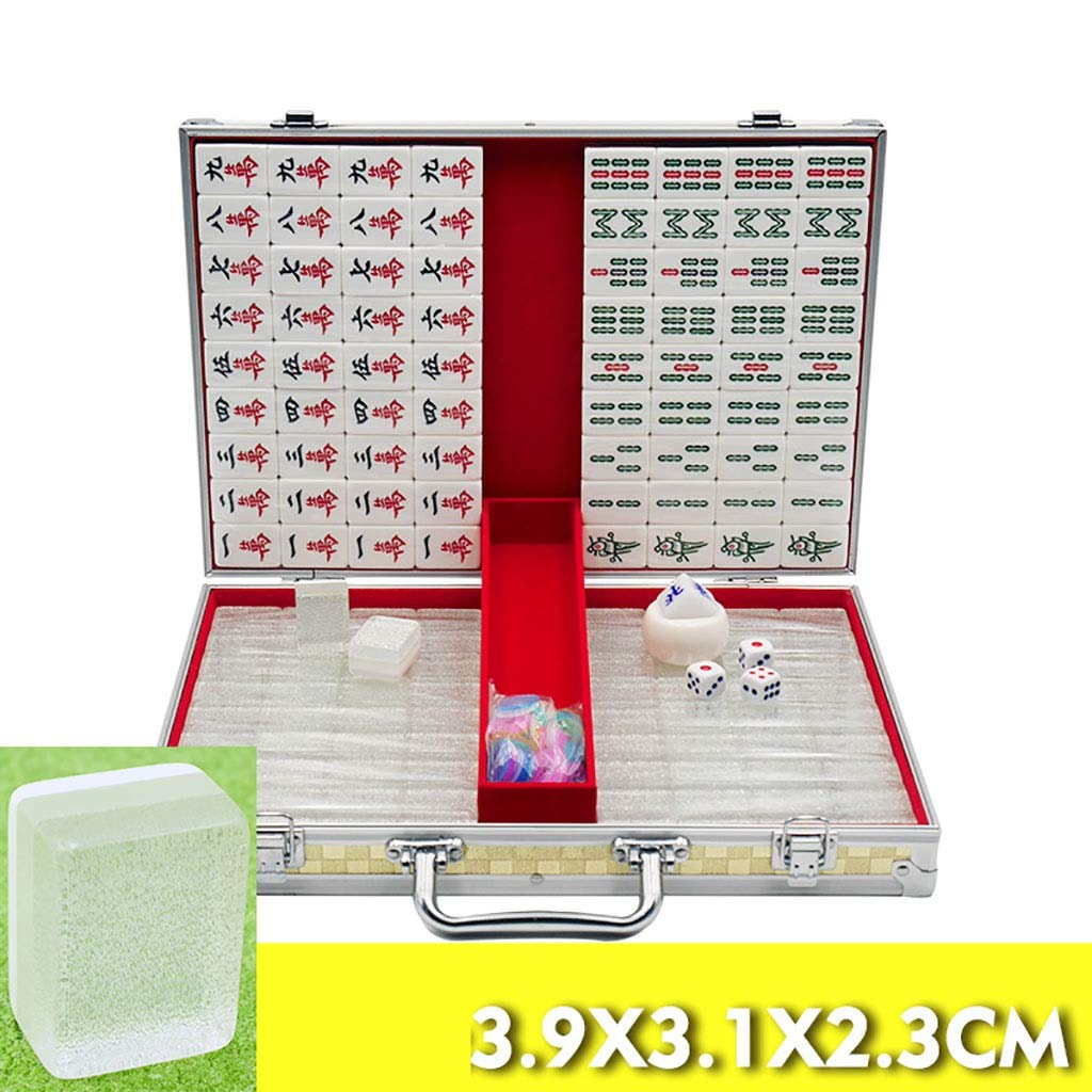 NuoEn Mahjong Traditional Chinese Version Game Set Portable 144 Tiles Acrylic Material Mah-Jongg Travel Family Leisure Time Gold Crystal Luster