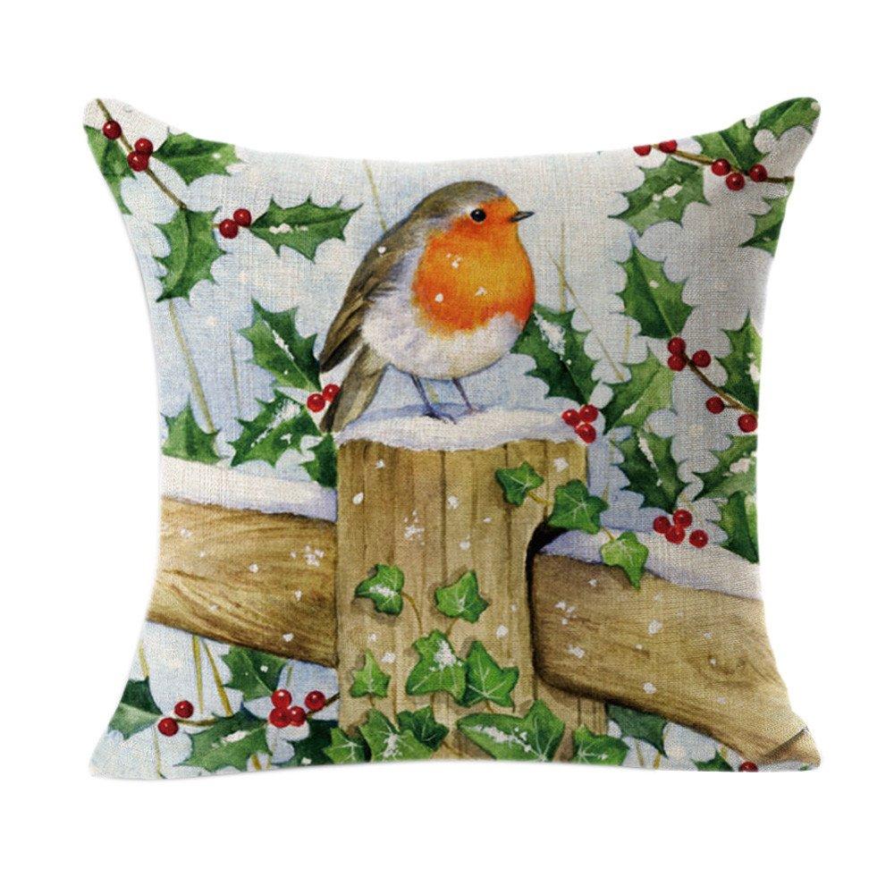Weiliru 100% Natural Cotton Pillowcase for Hair and Skin, with Hidden Zipper 1PCS,45cm x 45cm,Merry Chritmas