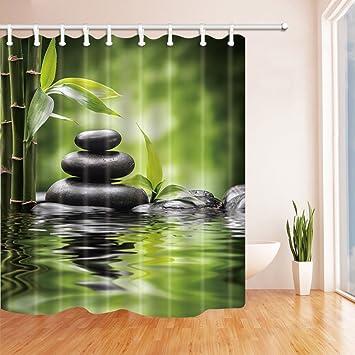 Rrfwq Spa Duschvorhange Fur Badezimmer Zen Garten Thema Basalt