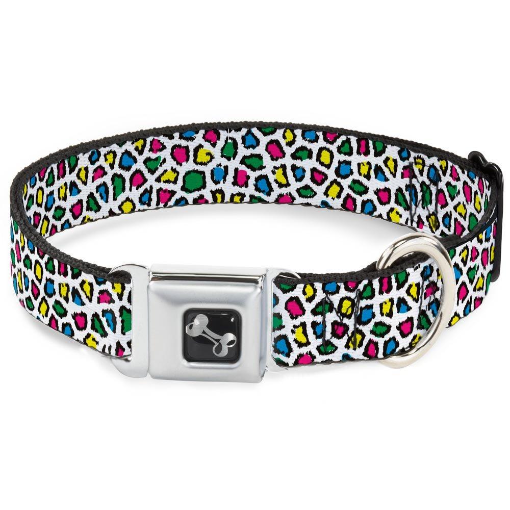 Leopard White Multi color 1\ Leopard White Multi color 1\ Buckle-Down Seatbelt Buckle Dog Collar Leopard White Multi color 1  Wide Fits 15-26  Neck Large
