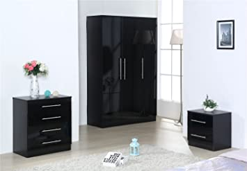 OSSOTTO XL BLACK HIGH GLOSS BEDROOM FURNITURE 3 DOOR SOFT CLOSE