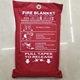 Fire Blanket Wall Mountable Glass Fibre Fire Extinguishers for Home, Kitchen, Car, Caravans & Boats10-Year Warranty,120 * 180Cm