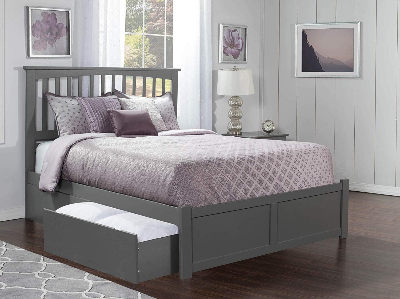 Atlantic Furniture Mission Platform Bed with 2 Urban Bed Drawers, King, Grey