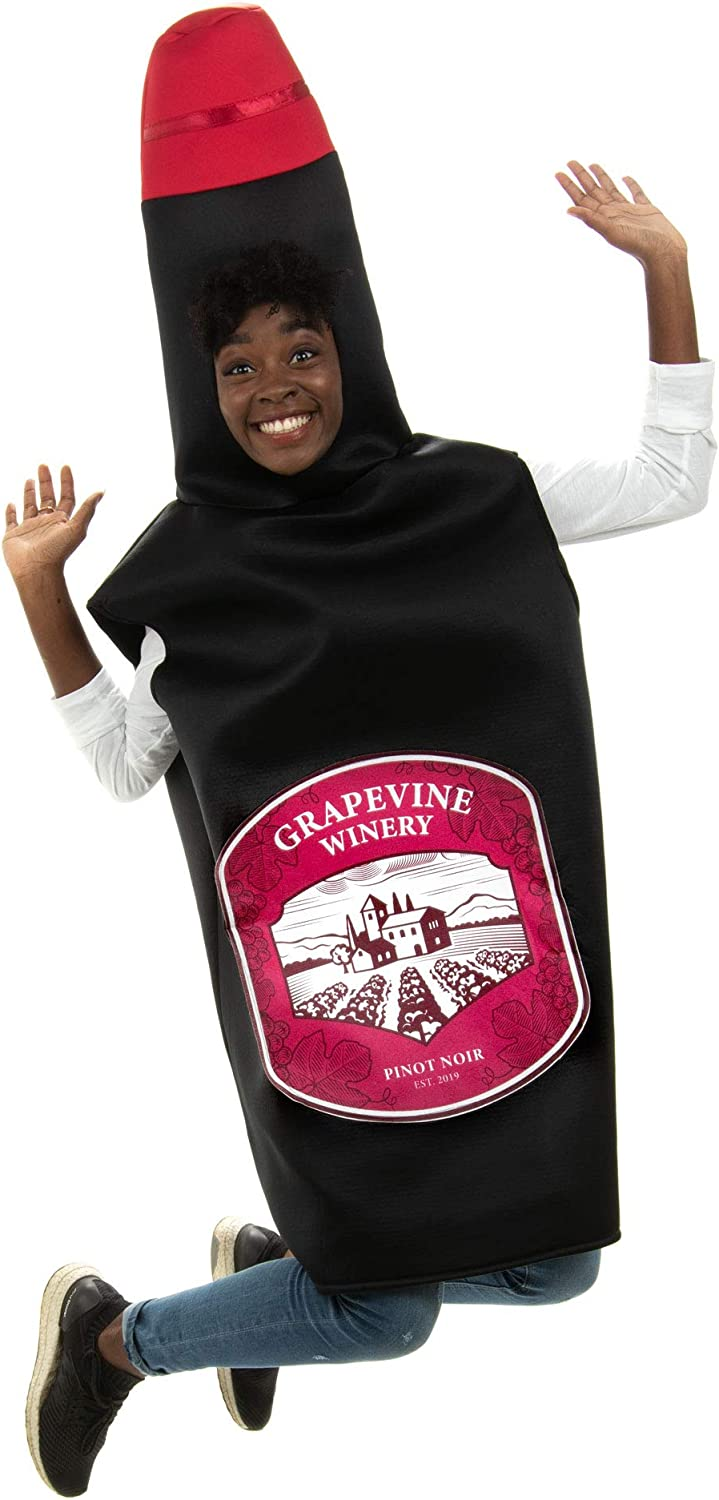 Sweet Red Wine Bottle Halloween Costume - One-Size Unisex Adult Beverage Outfit