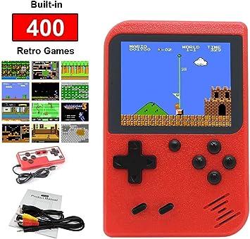 Consola de juegos de mano, consola de juegos retro, mini reproductor de videojuego portátil de 3.0 pulgadas, pantalla a color con 400 juegos clásicos del FC Soporte para conectar TV (rojo): Amazon.es: