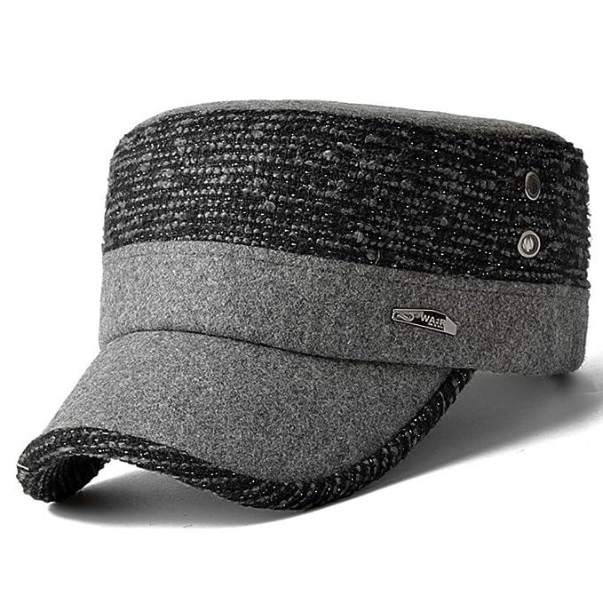 Gorros de invierno para hombres Gorra plana de lana Gorra militar Moda  casuales sombreros Otoño invierno caliente Cap-D  Amazon.es  Ropa y  accesorios c46302476a53