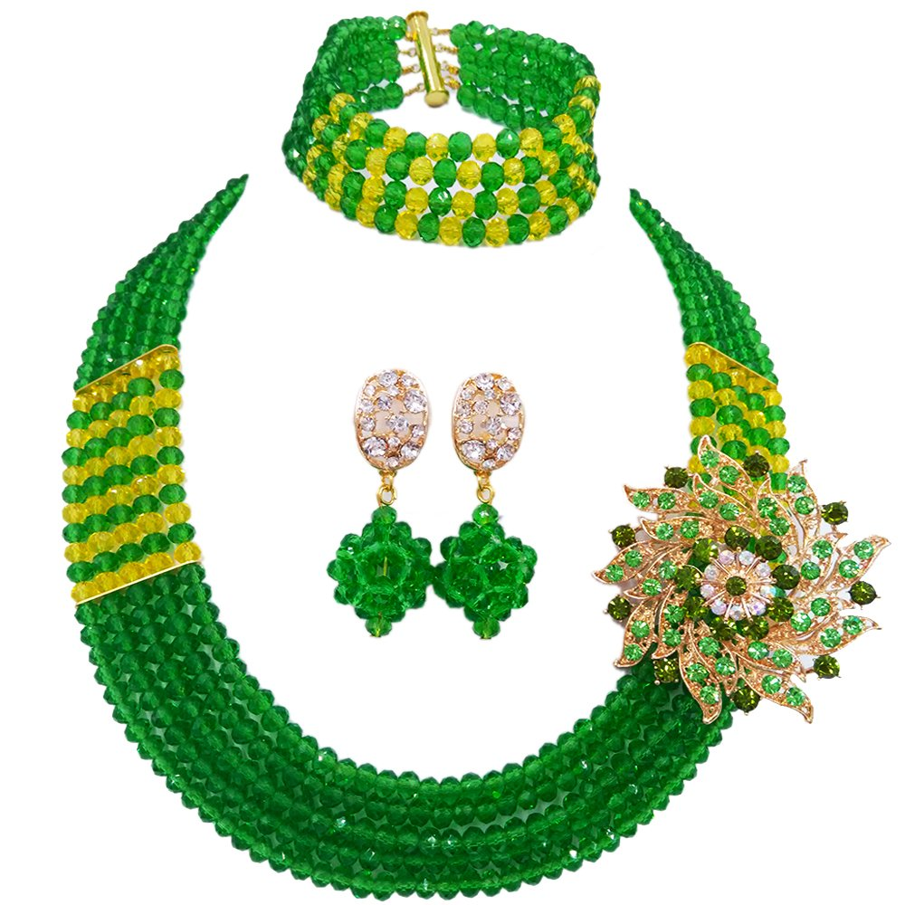 laanc African Nigerian Beads Popular 5 Rows Womens Crystal Bridal Wedding Jewelry Sets